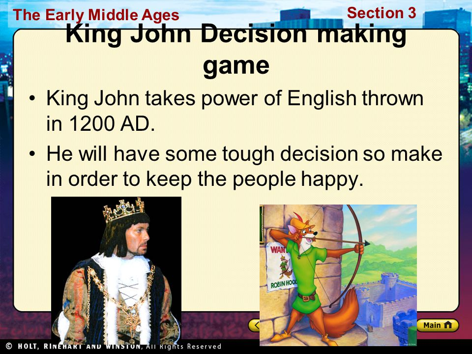 King John Decision making game