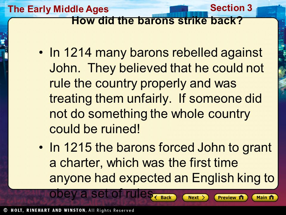 How did the barons strike back