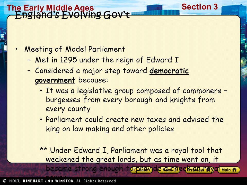 England's Evolving Gov't