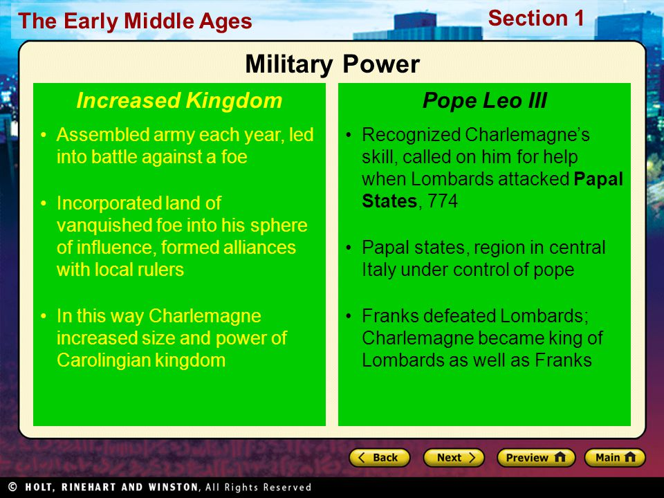 Military Power Increased Kingdom Pope Leo III