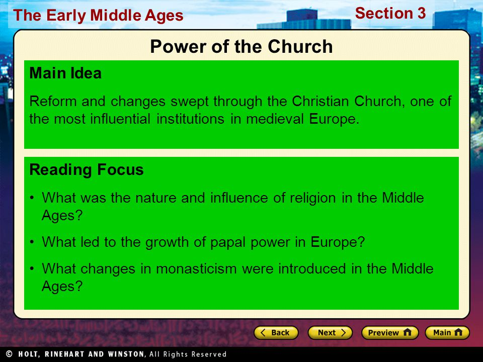 Power of the Church Main Idea Reading Focus