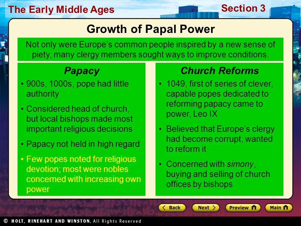 Growth of Papal Power Papacy Church Reforms