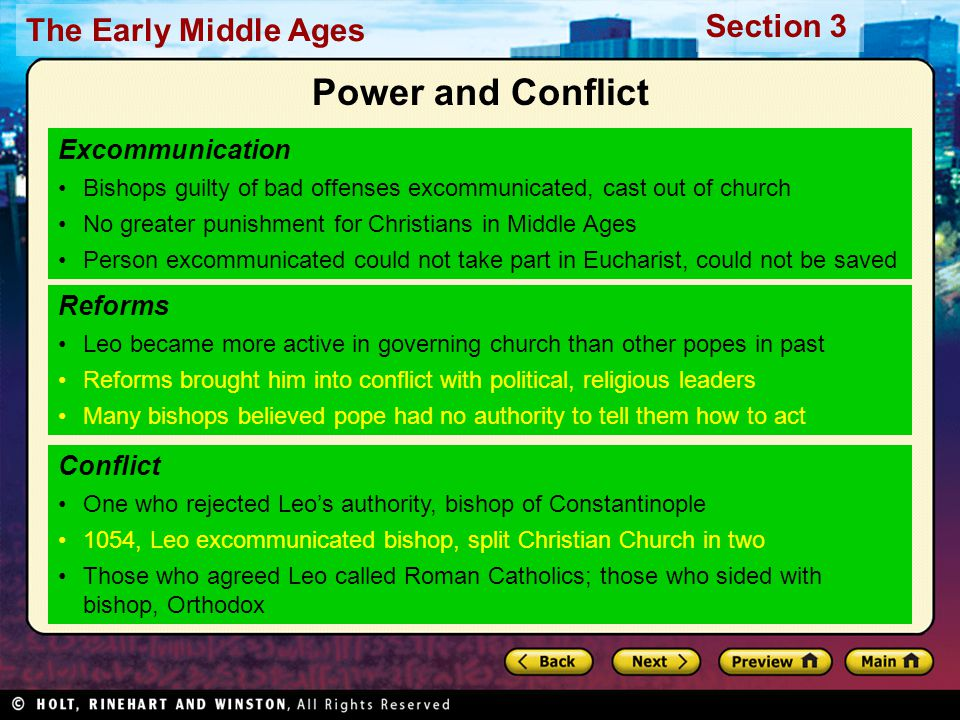 Power and Conflict Excommunication Reforms Conflict