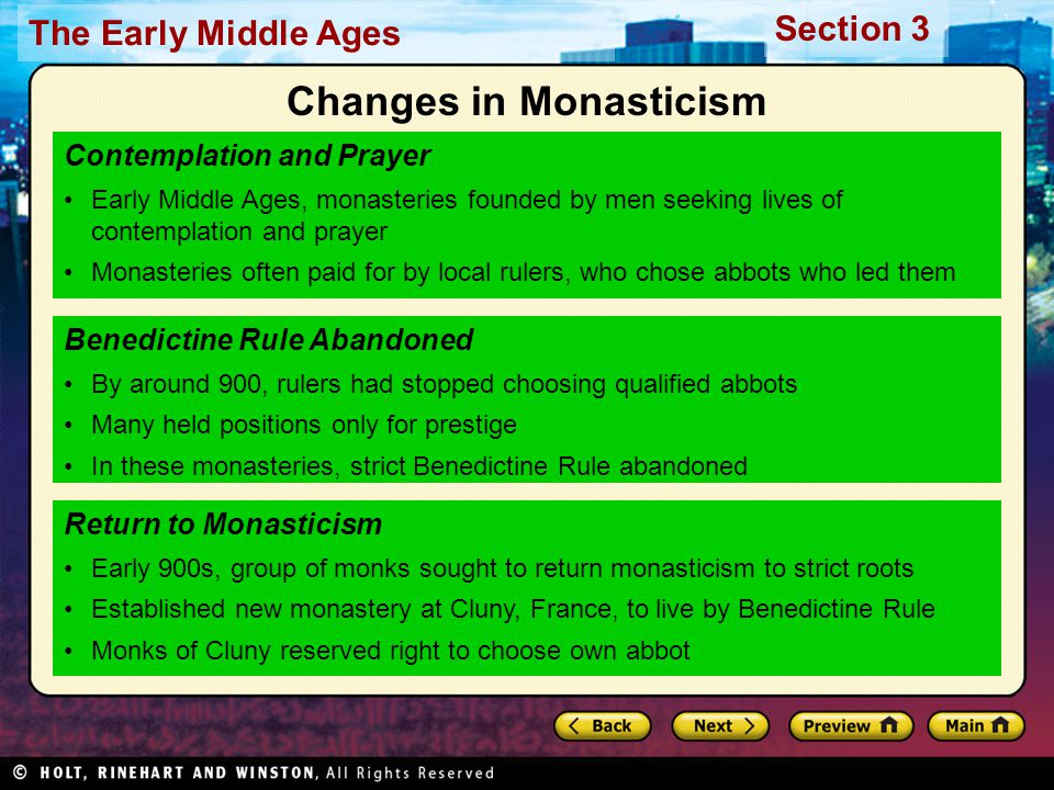 Changes in Monasticism