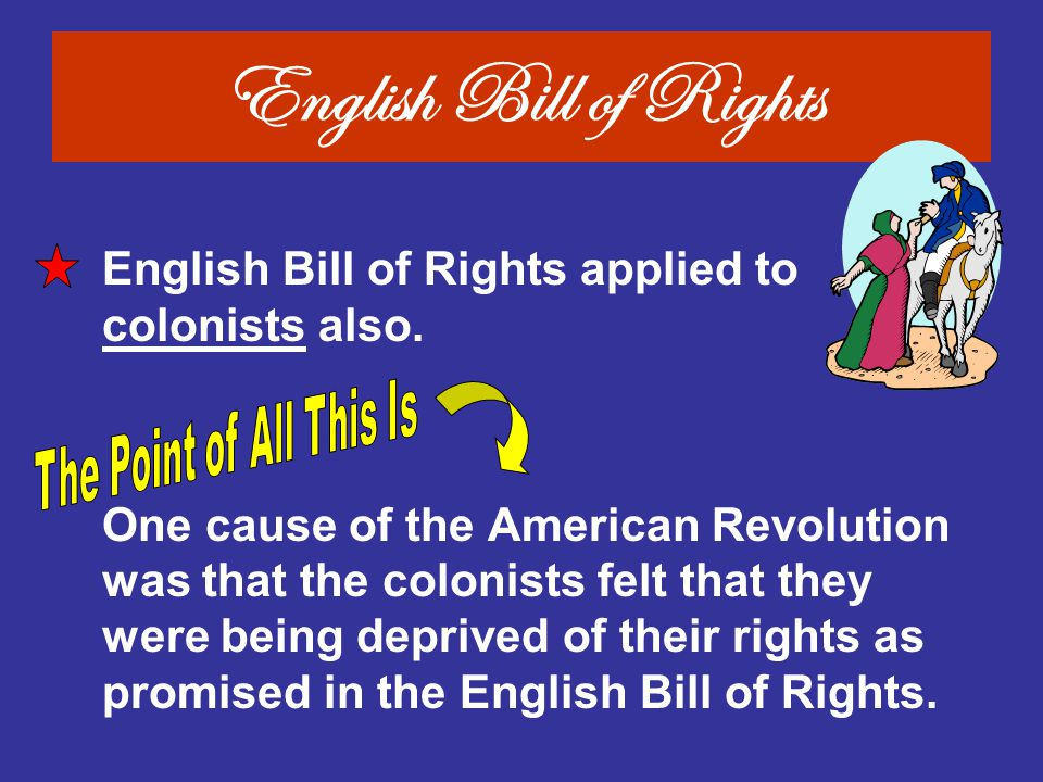 English Bill of Rights English Bill of Rights applied to colonists also.