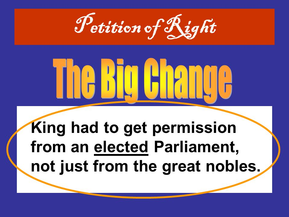 Petition of Right The Big Change.