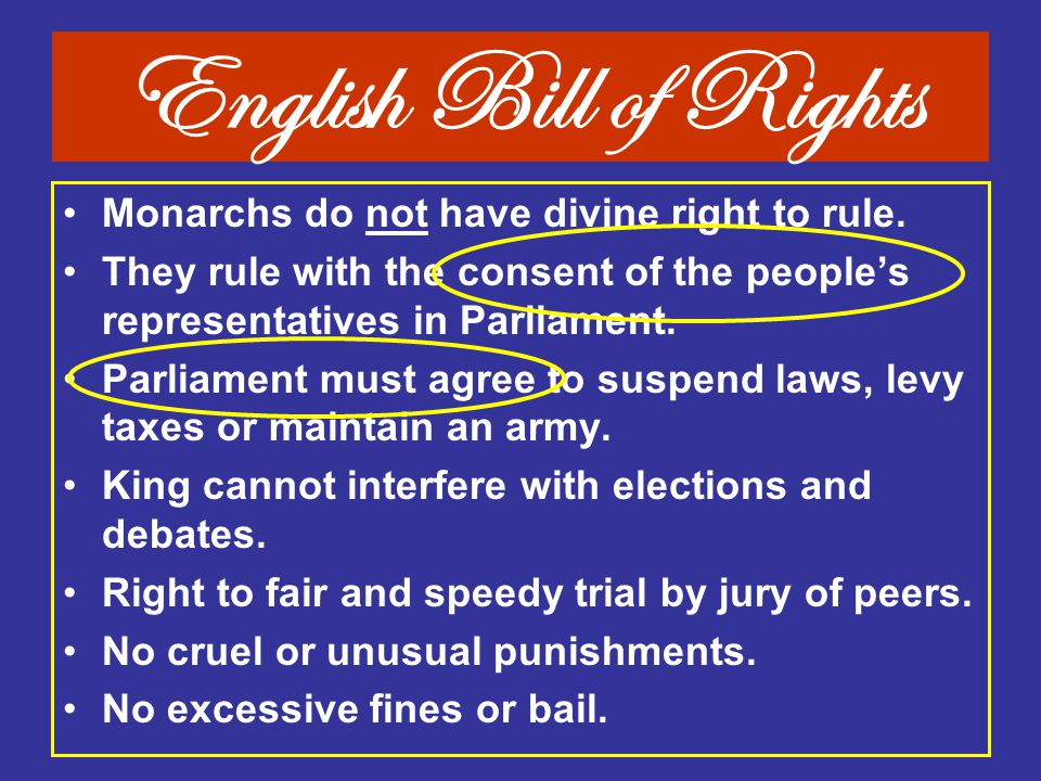 English Bill of Rights Monarchs do not have divine right to rule.