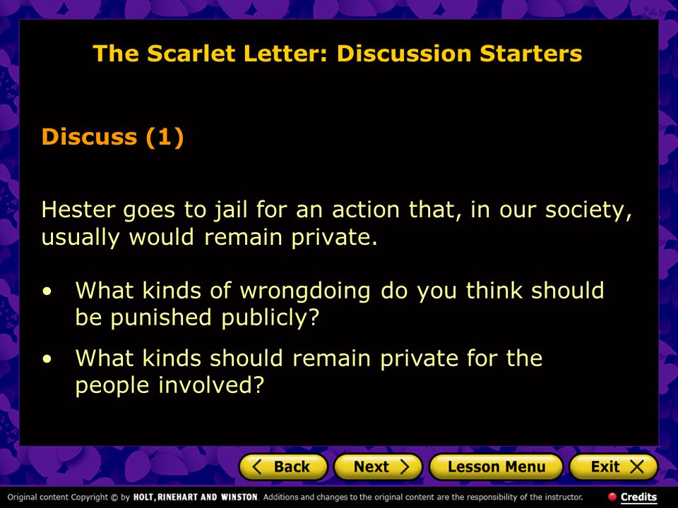 The Scarlet Letter: Discussion Starters