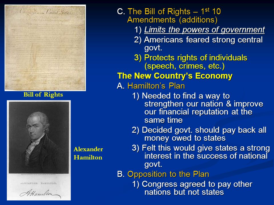 C. The Bill of Rights – 1st 10 Amendments (additions)