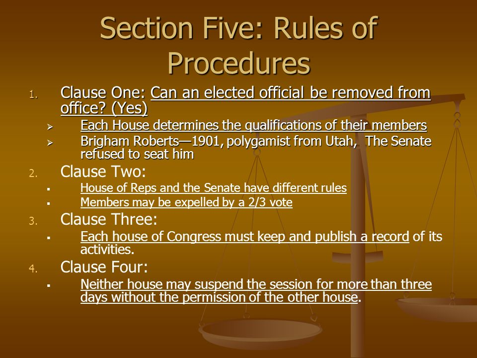 Section Five: Rules of Procedures