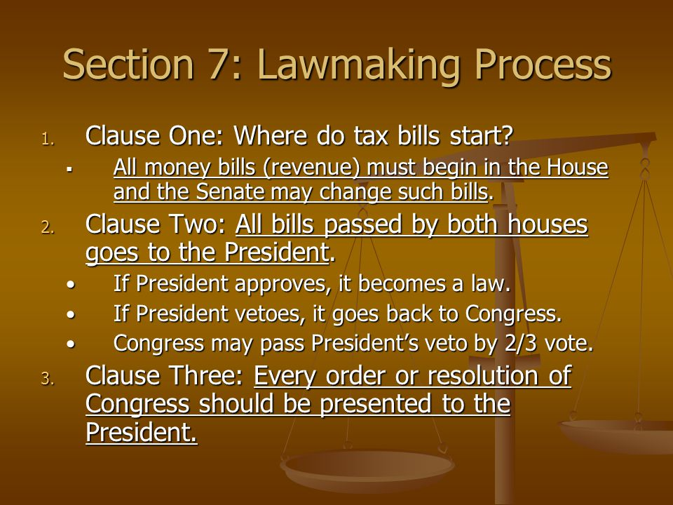 Section 7: Lawmaking Process