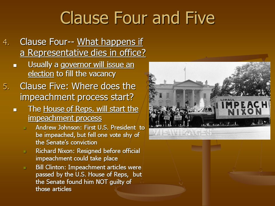 Clause Four and Five Clause Four-- What happens if a Representative dies in office Usually a governor will issue an election to fill the vacancy.