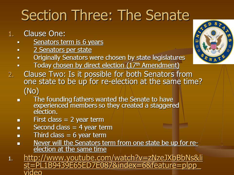 Section Three: The Senate