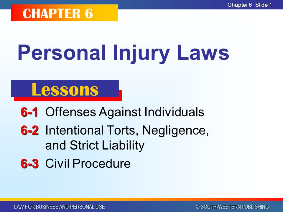 Personal Injury Laws Lessons CHAPTER 6