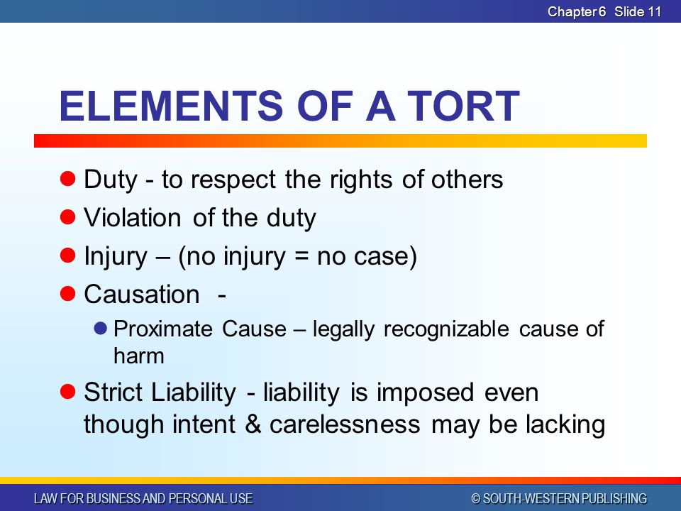 ELEMENTS OF A TORT Duty - to respect the rights of others
