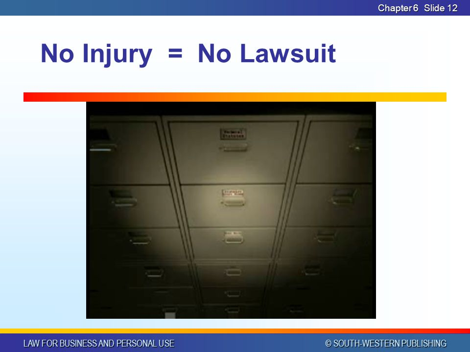 Chapter 6 No Injury = No Lawsuit