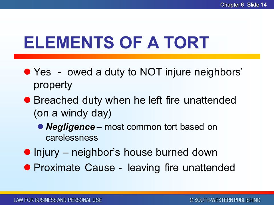 ELEMENTS OF A TORT Yes - owed a duty to NOT injure neighbors' property