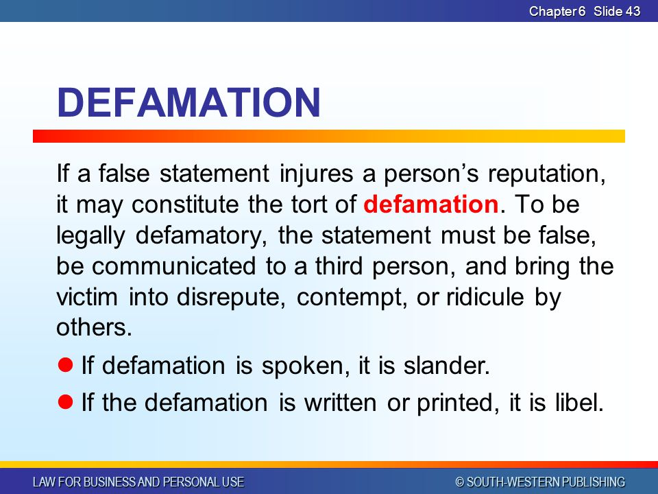 CHAPTER 6 4/14/2017. Chapter 6. DEFAMATION.