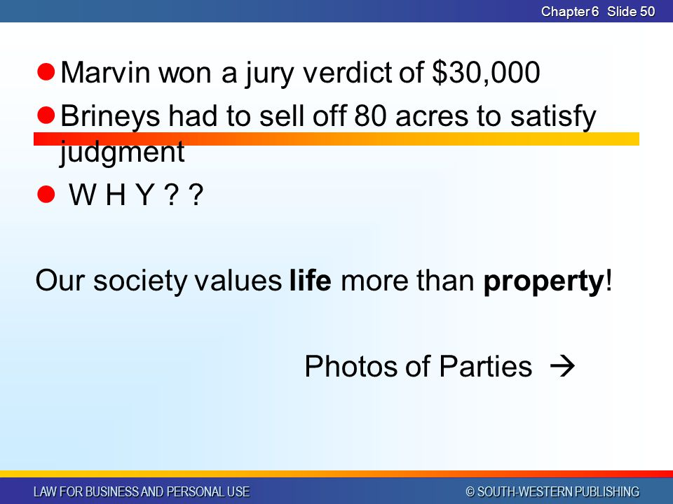 Marvin won a jury verdict of $30,000