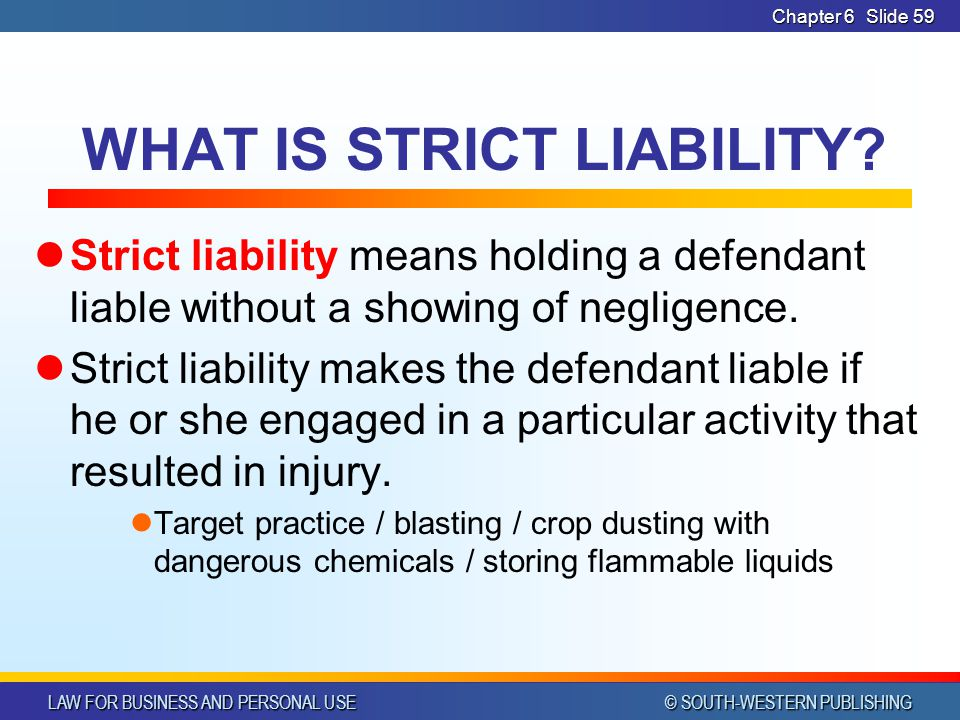 WHAT IS STRICT LIABILITY
