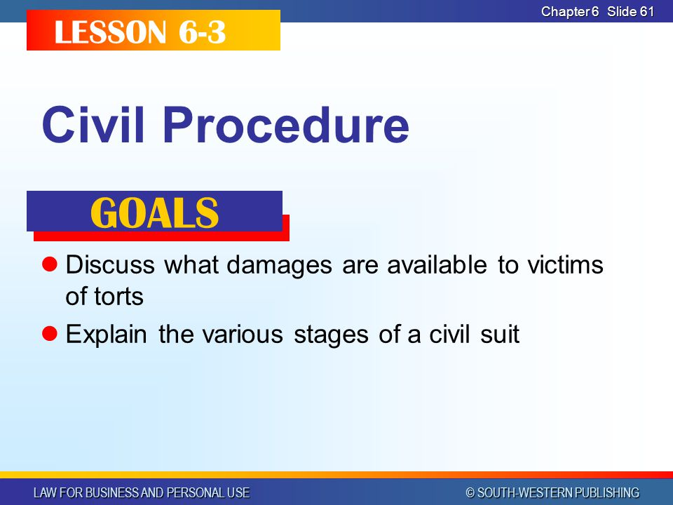 Civil Procedure GOALS LESSON 6-3