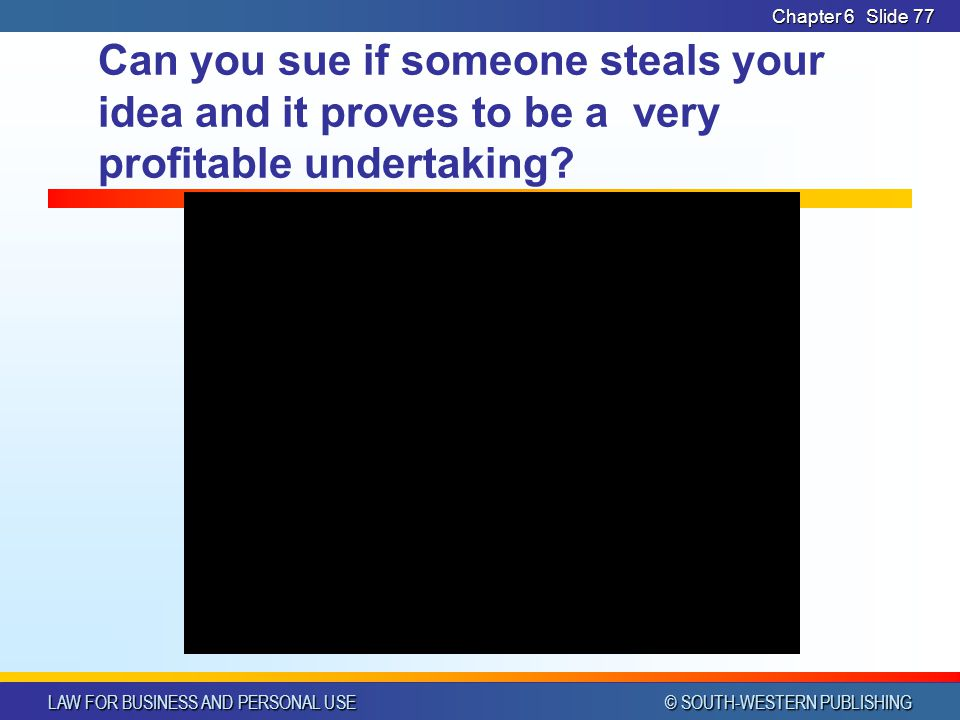 Chapter 6 Can you sue if someone steals your idea and it proves to be a very profitable undertaking