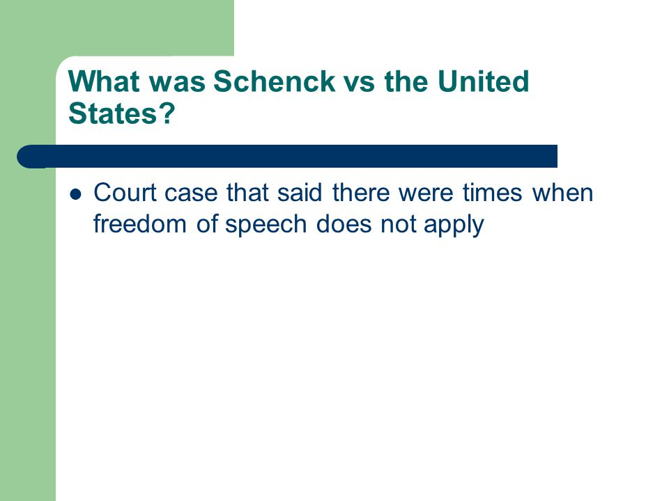 What was Schenck vs the United States