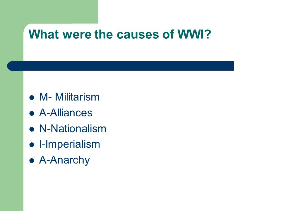 What were the causes of WWI