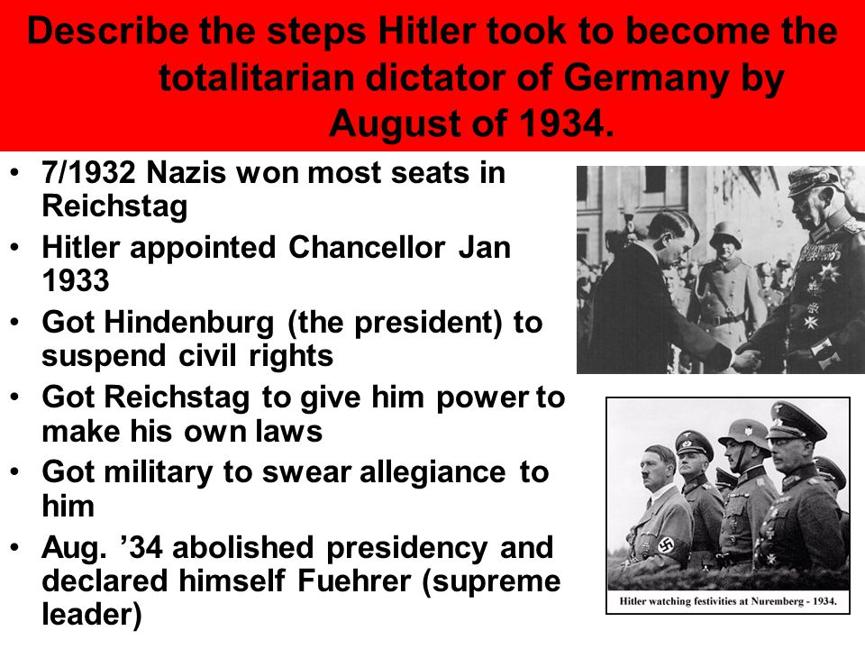 Describe the steps Hitler took to become the totalitarian dictator of Germany by August of 1934.