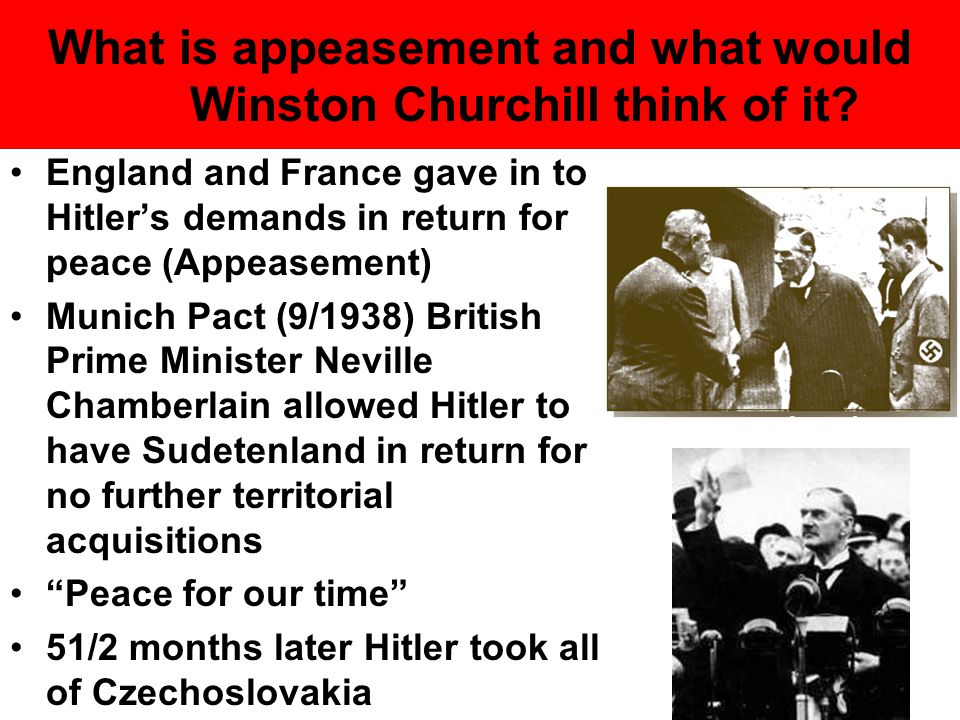 What is appeasement and what would Winston Churchill think of it