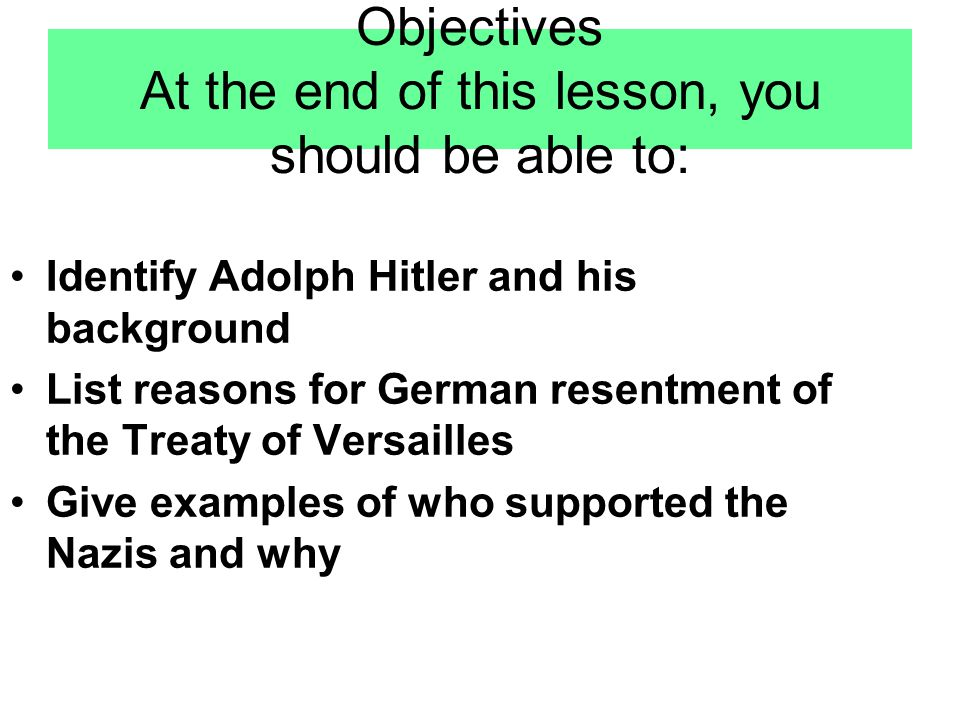 Objectives At the end of this lesson, you should be able to: