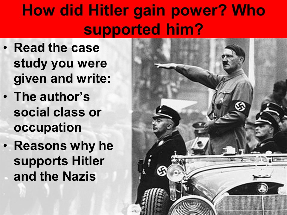 How did Hitler gain power Who supported him