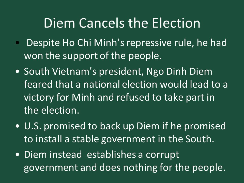 Diem Cancels the Election