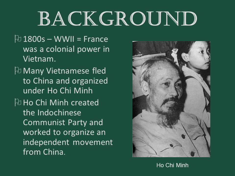 BACKGROUND 1800s – WWII = France was a colonial power in Vietnam.