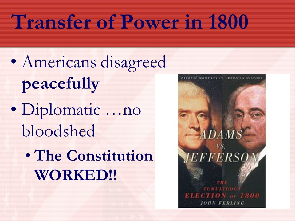 Transfer of Power in 1800 Americans disagreed peacefully