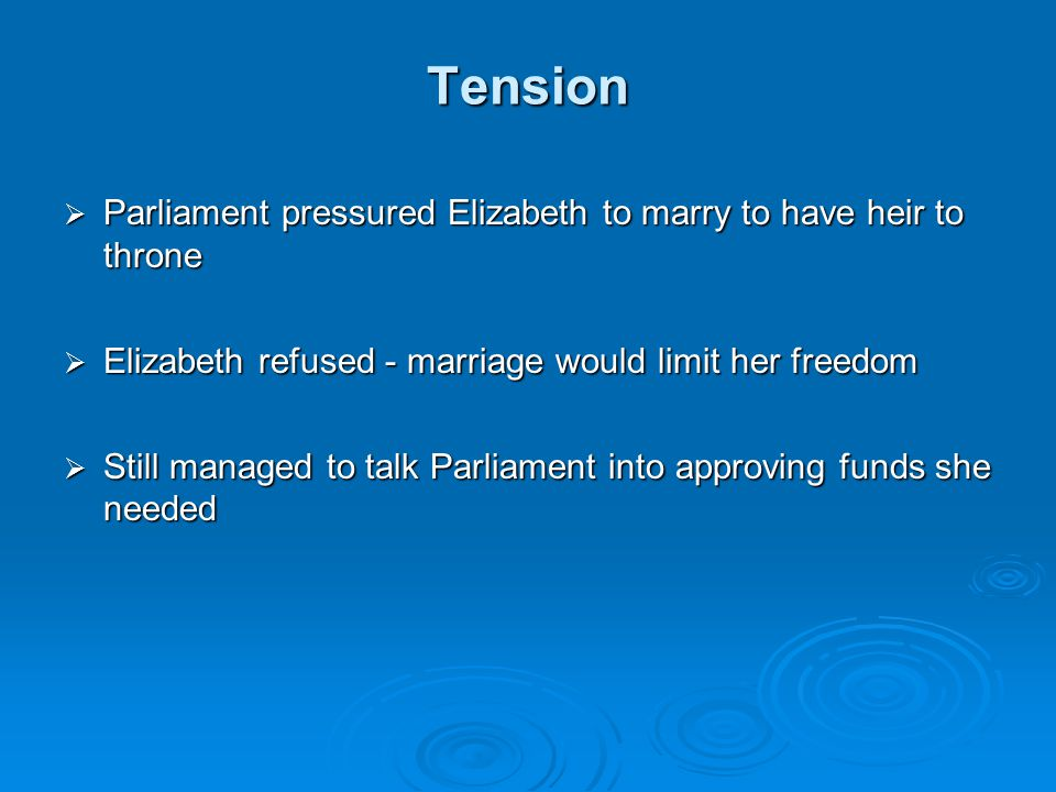 Tension Parliament pressured Elizabeth to marry to have heir to throne