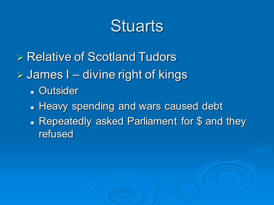 Stuarts Relative of Scotland Tudors James I – divine right of kings