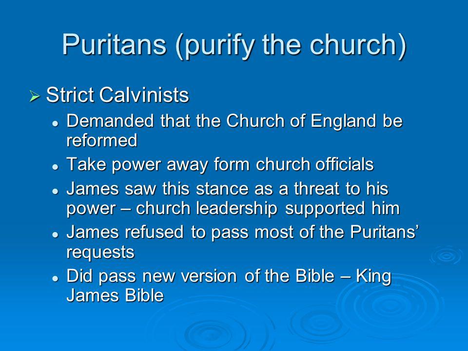 Puritans (purify the church)