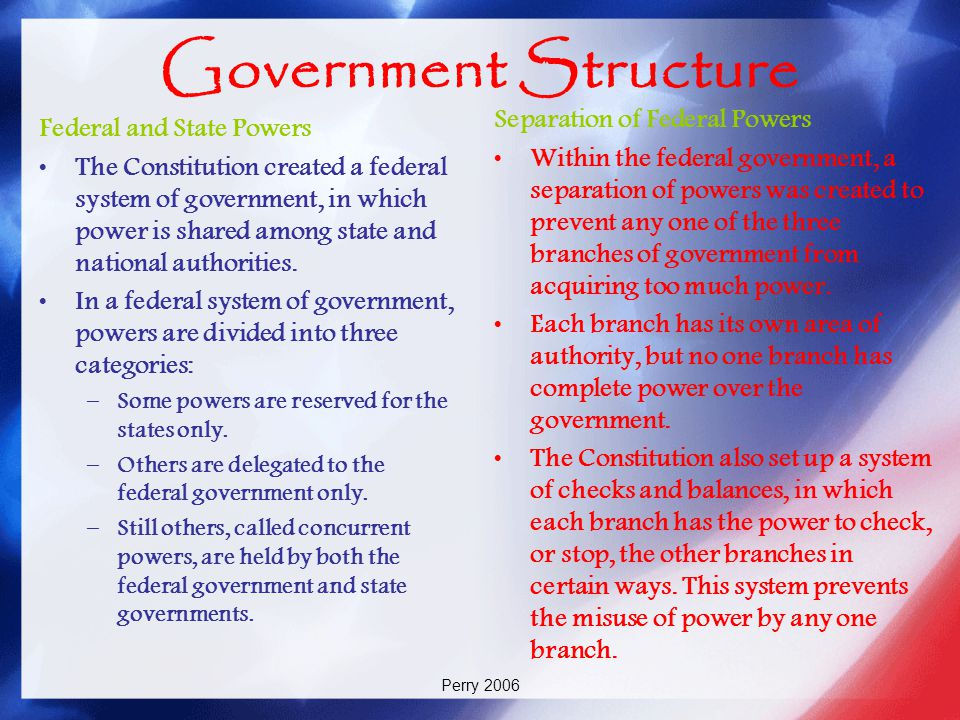 Government Structure Separation of Federal Powers