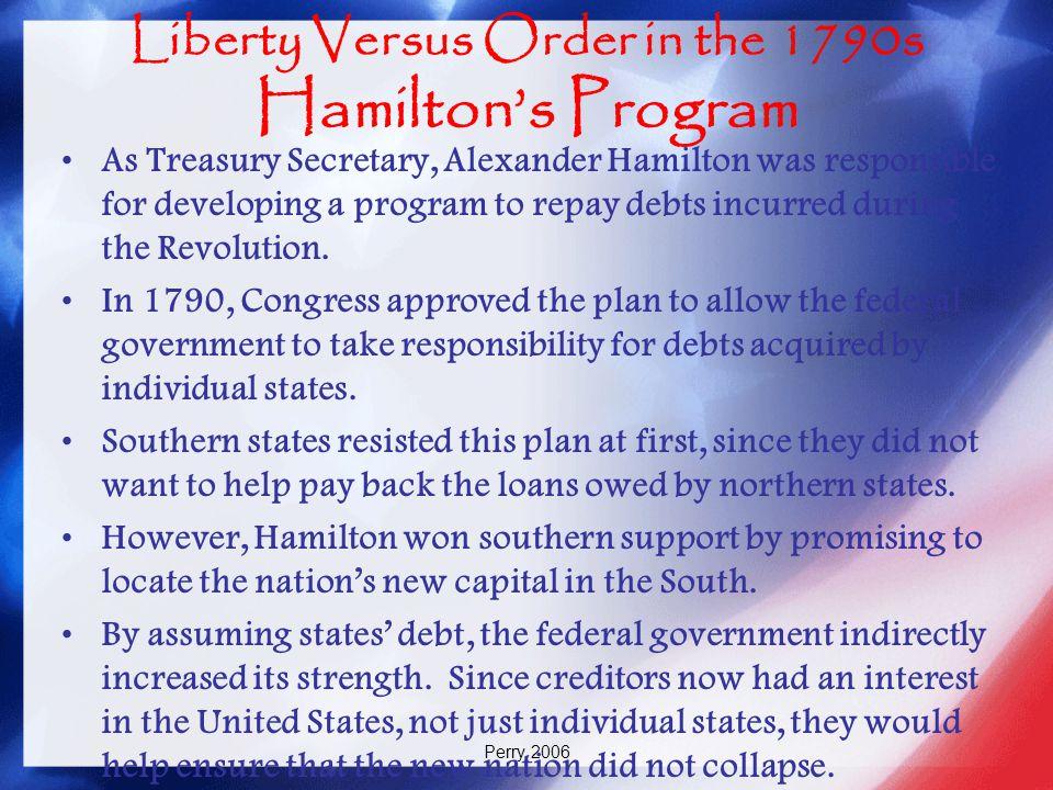 Liberty Versus Order in the 1790s Hamilton's Program