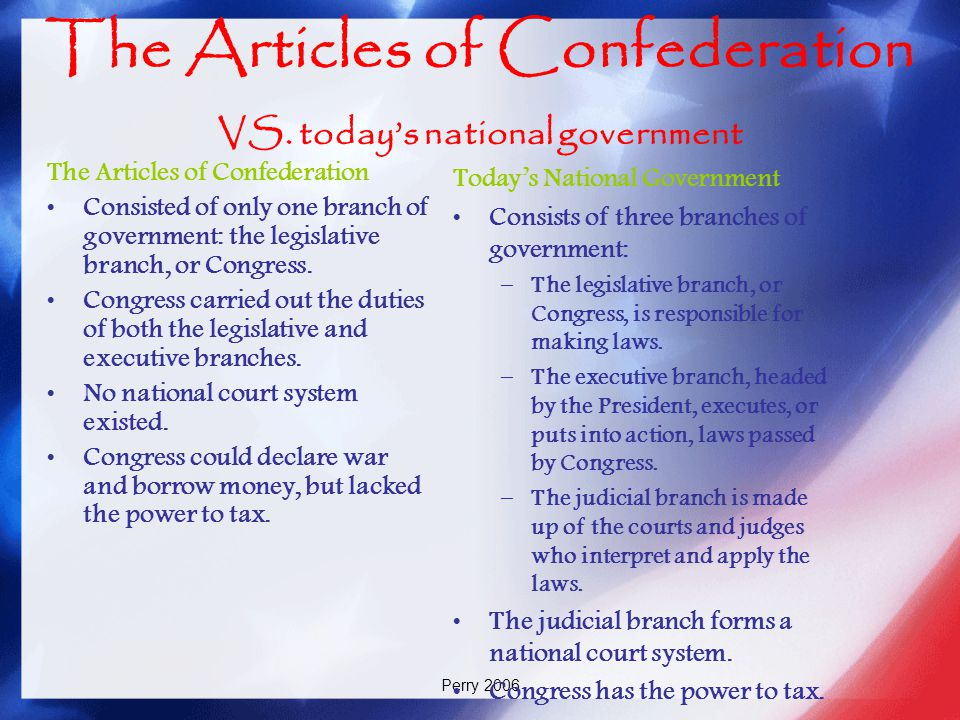 The Articles of Confederation VS. today's national government