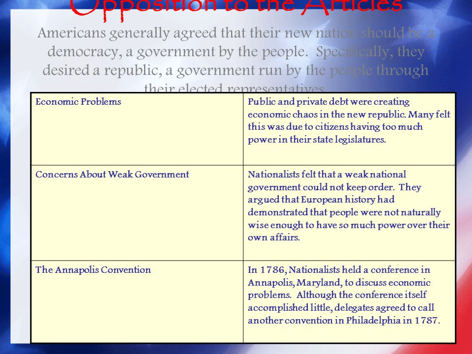 Opposition to the Articles Americans generally agreed that their new nation should be a democracy, a government by the people. Specifically, they desired a republic, a government run by the people through their elected representatives.