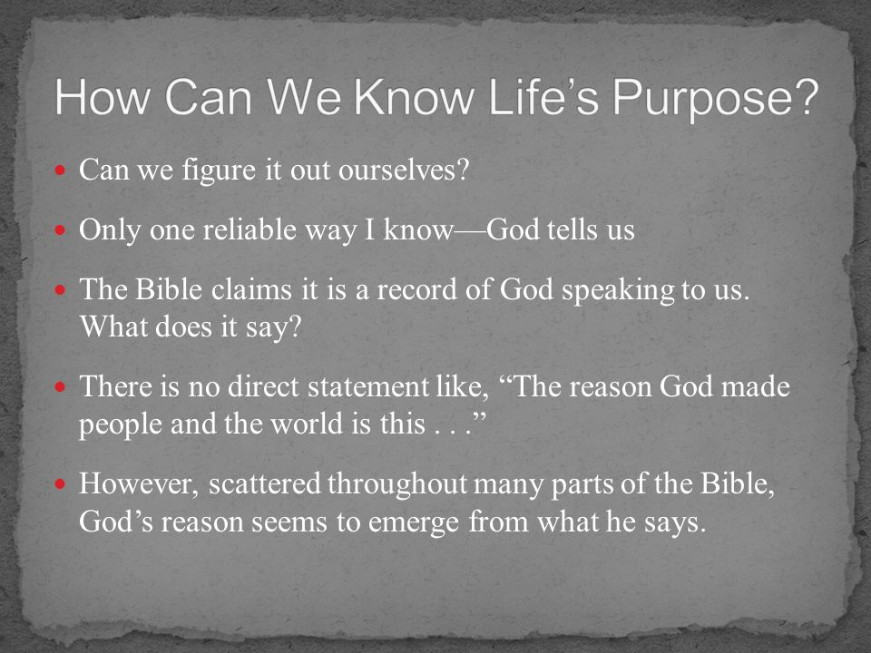 How Can We Know Life's Purpose