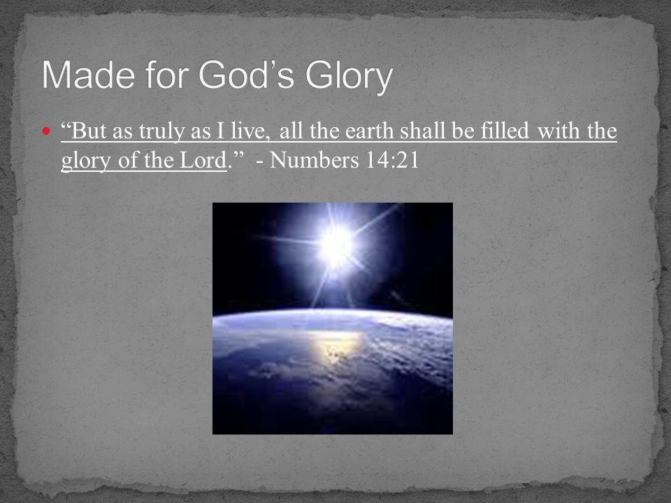 Made for God's Glory But as truly as I live, all the earth shall be filled with the glory of the Lord. - Numbers 14:21.