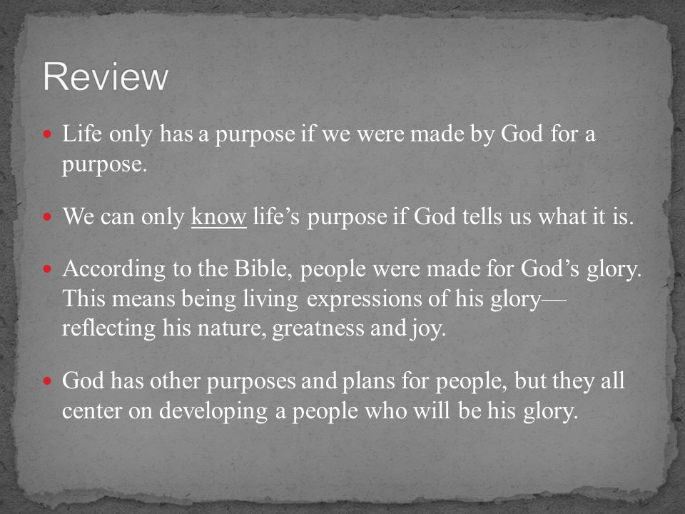 Review Life only has a purpose if we were made by God for a purpose.