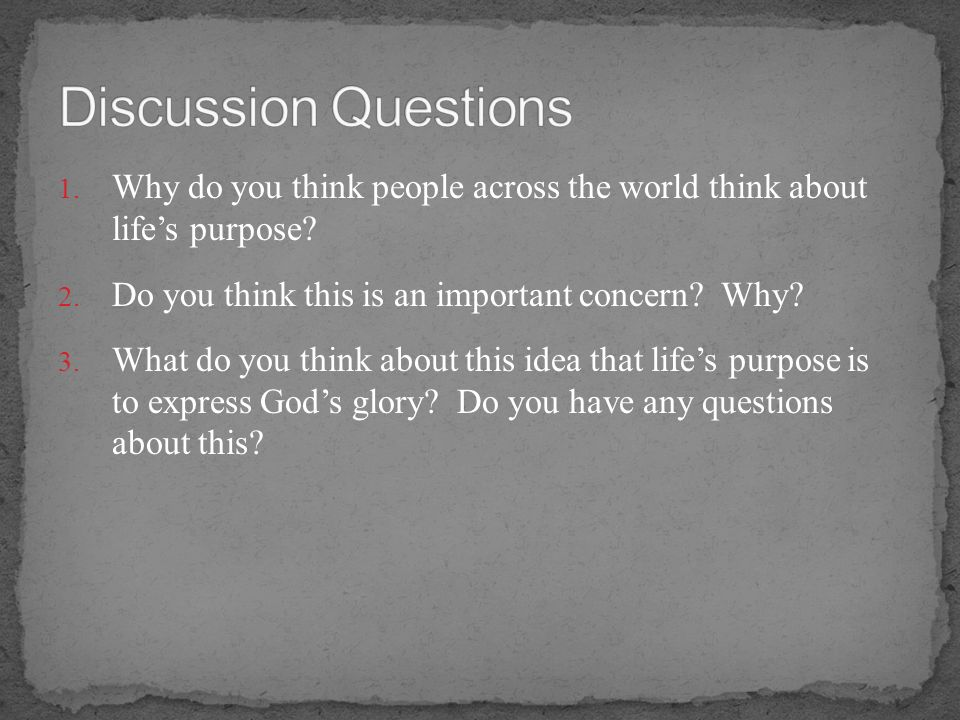 Discussion Questions Why do you think people across the world think about life's purpose Do you think this is an important concern Why