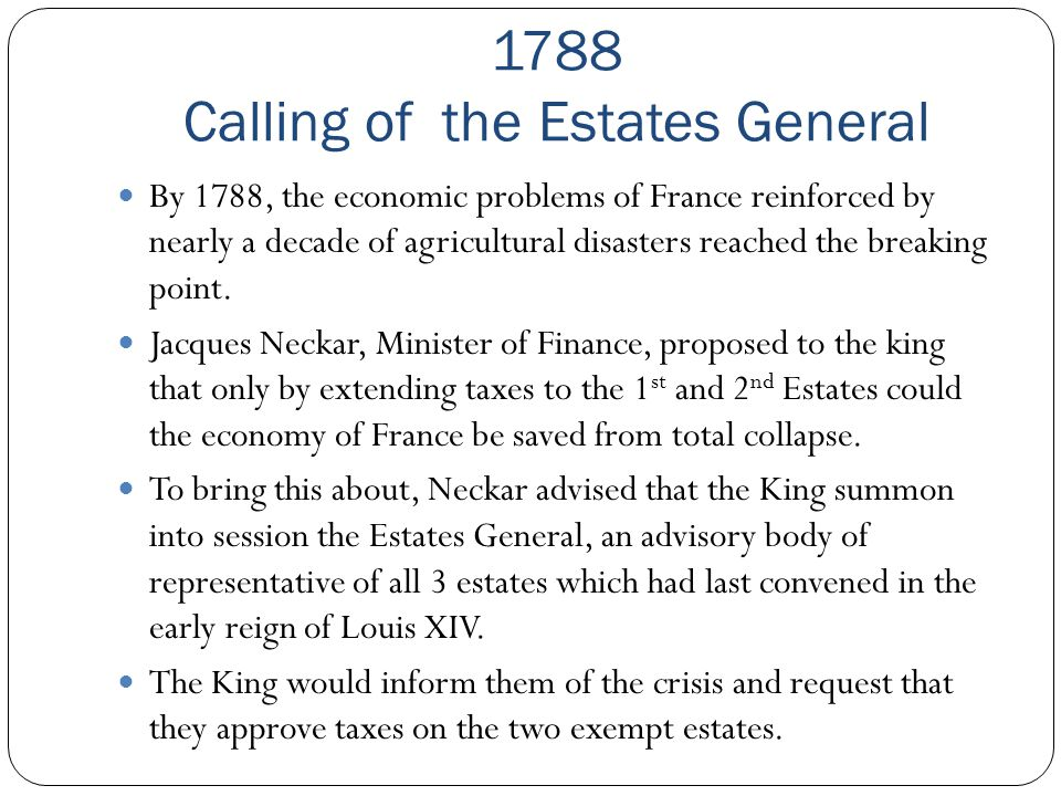 1788 Calling of the Estates General