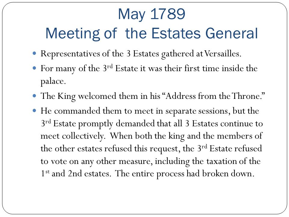May 1789 Meeting of the Estates General