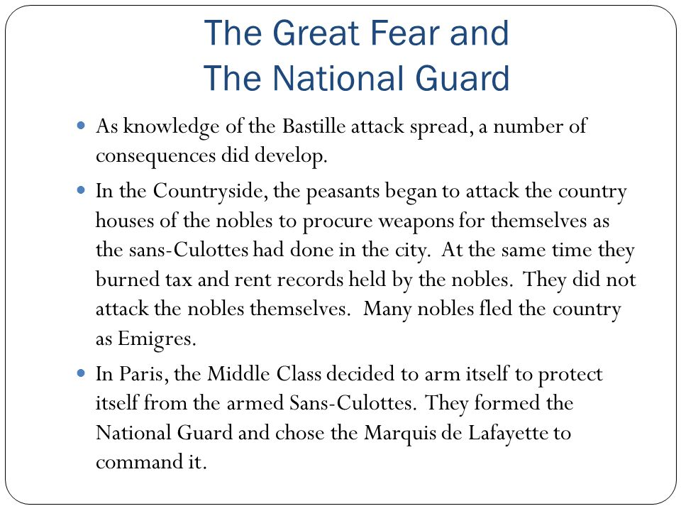 The Great Fear and The National Guard