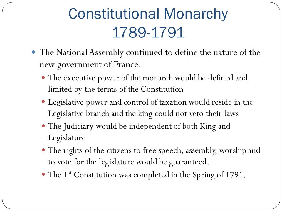 Constitutional Monarchy 1789-1791